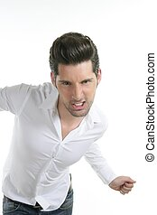 funny gesture dancing young male man over white
