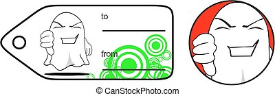 funny ghost cartoon expression giftcard in vector format...