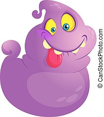 Funny ghost monster with long tongue. Halloween cartoon character