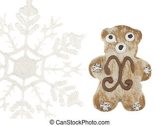 funny gingerbread bear and snowflake