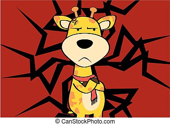 funny giraffe cartoon emotion card3