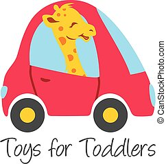 Funny giraffe drives a car. Toys for toddlers