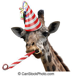 Funny giraffe party animal making a silly face and blowing a...