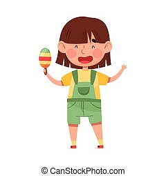 Funny Girl Character Holding Popsickle or Fruit Ice Vector Illustration. Little Kid Eating Cold Refreshing Treat and Enjoying Summertime Concept