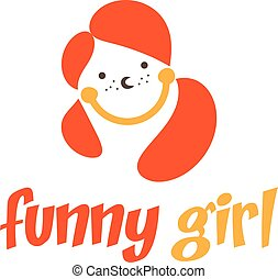 Funny girl icon. Vector