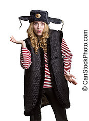 Funny girl in a soldier's cap
