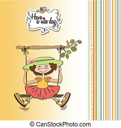 funny girl in a swing