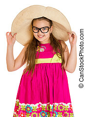 Funny girl in glasses and wide-brimmed hat , close-up