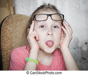 Funny girl in glasses.