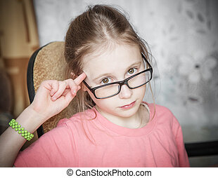 Funny girl in glasses.