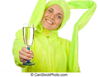 Funny girl in rabbit costume with wine glass