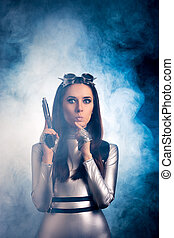 Funny Girl in Space Suit with Gun