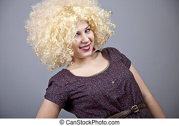 Funny girl in wig.