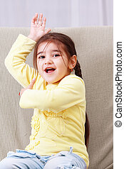Funny girl in yellow