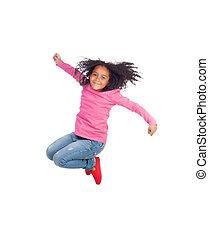 Funny girl jumping