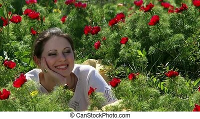 Funny Girl On The Nature