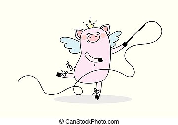 Funny girl Pig dreams of being a ballerina and gymnast