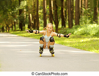 funny girl rollerblading