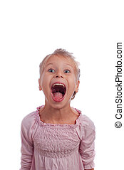 Funny girl screams - little girl in a pink sarafan shouting,...