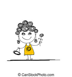 Funny girl sketch for your design - Funny girl sketch