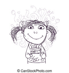 Funny girl sketch with birthday cake for your design