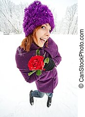 Funny girl with a rose