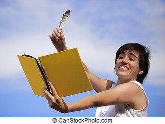 Funny girl with a yellow book