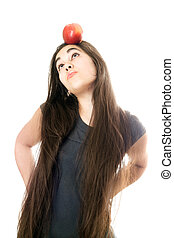 Funny girl with apple
