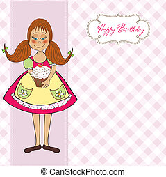 funny girl with birthday cake