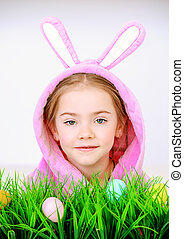 funny girl with bunny ears