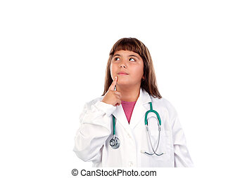 Funny girl with doctor uniform