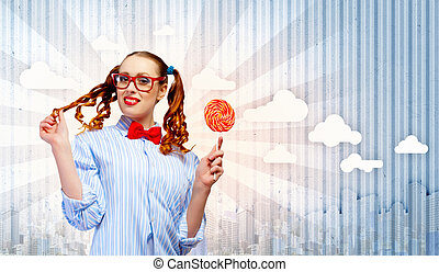 Funny girl with lollipop