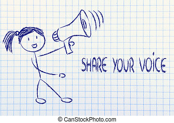 funny girl with megaphone: share your voice - girl with...