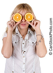 Funny girl with oranges. Isolated on white