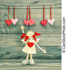 Funny Girl with Red Heart. Valentines Day decoration