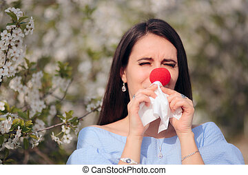 Funny Girl with Red Nose from Spring Allergies