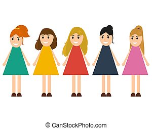 Funny girls in dresses on a white background