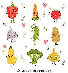 Funny Girly Design Vegetables Set