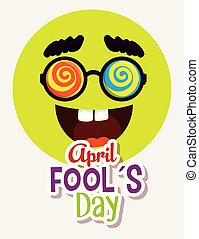 funny glasses and mouth with teeth to fools day