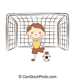 Funny goalkeeper with ball