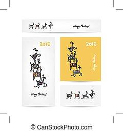 Funny goats. Christmas cards design.