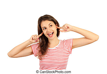 Funny goofy young woman with bug eyes grimacing, having stupid and ridiculous facial expression. emotional girl isolated on white background