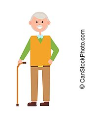 Funny Grandad, Bright Banner, Vector Illustration