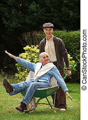 funny grandparents in the garden