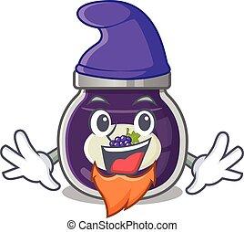 Funny grape jam cartoon mascot performed as an Elf