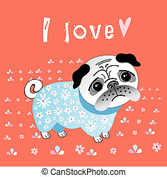 pug lover - funny graphic pug lover on a red background with...