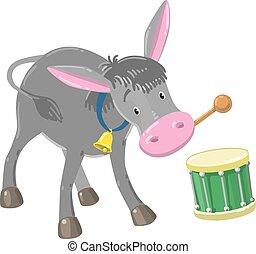 Funny gray drumming donkey