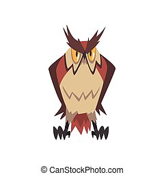 Funny Great Horned Owl Character Vector Illustration
