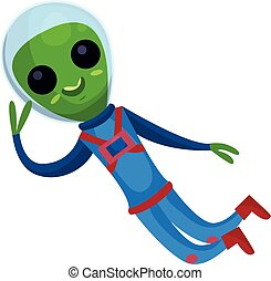 Funny green alien with big eyes wearing blue space suit flying in Space, alien positive character cartoon vector Illustration