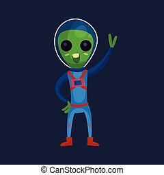 Funny green alien with big eyes wearing blue space suit waving his hand, alien positive character cartoon vector Illustration